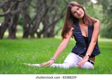 beautiful girl on the grass