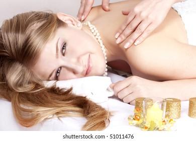 beautiful girl on massage procedures