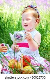 Beautiful girl  on the meadow