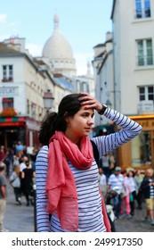 Beautiful girl on Montmartre in Paris