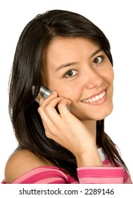 beautiful girl on the phone in pink clothes over a white backgroud