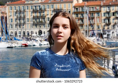 Beautiful girl on the sea