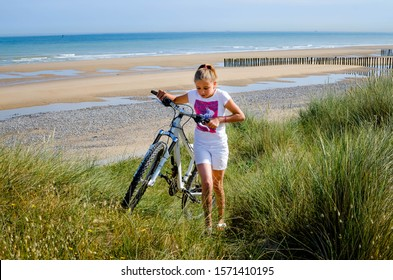 beautiful girl on vacation on the Opal Coast in France