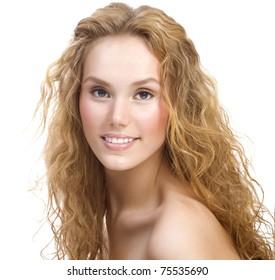 Beautiful Girl over white. Healthy skin