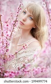 beautiful girl in the peach garden