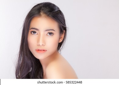 Beautiful girl with Perfect Fresh Skin. Skin care concept / photoset of attractive brunette girl on beige background.