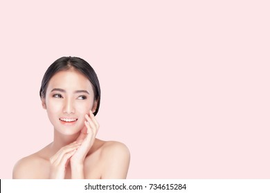 Beautiful girl with Perfect Fresh Skin. Skin care concept, photoset of attractive brunette girl on pink background. Have clipping paths.