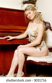 beautiful girl & piano