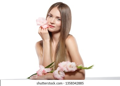 Beautiful girl with pink flover, isolated on a white background, emotions, cosmetics