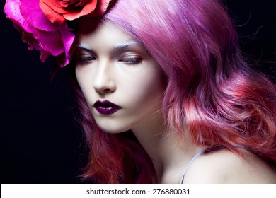beautiful girl with pink hair,  delightful bright image, horizontally