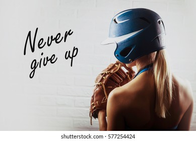 Beautiful girl player and  motivational text (sport). Never give up