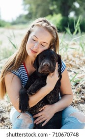 beautiful girl is playing brown labradors on the sand