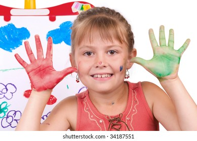 The beautiful girl plays on a white background