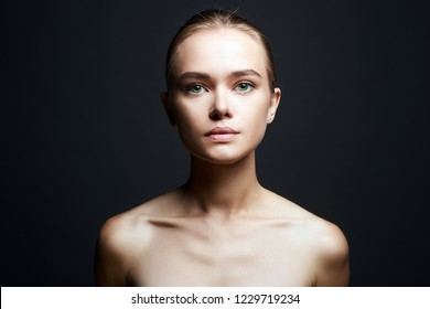 Beautiful Girl portrait. Beauty Young Woman with nude make-up