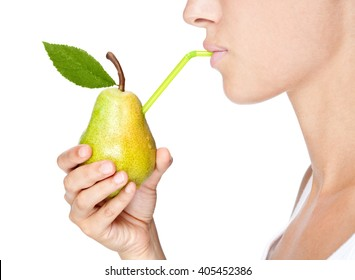 beautiful girl portrait  drink juice from a pear isolated on white