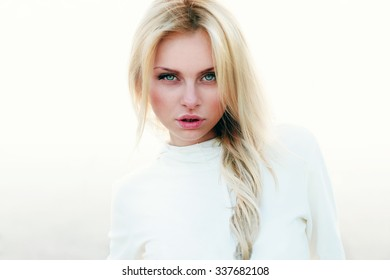 Beautiful girl portrait on a white background