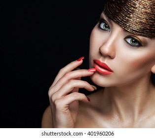 Beautiful  Girl Portrait.Makeup. Sensual Coral Lips and Smokey golden Eyes Make-up. Hair accessories.