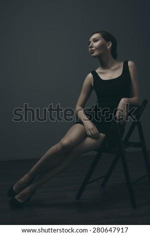 Beautiful Girl Poses Studio Fashion Portrait Stock Photo (Edit Now