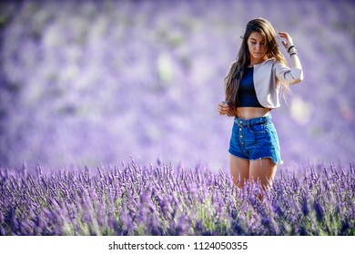 beautiful girl posing among the lavender fields