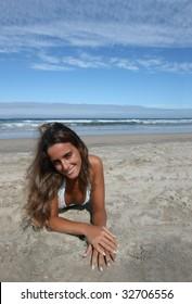 beautiful girl posing in the beach