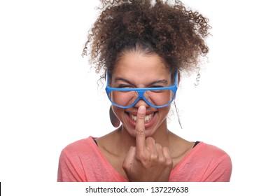 Beautiful girl posing with glasses