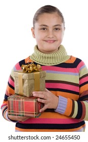 Beautiful girl with presents of birthday on a over white background