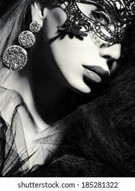 beautiful girl profile black and white