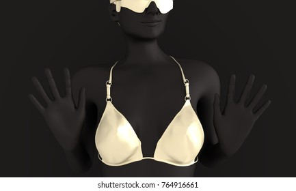 Beautiful girl raising her hand in stop gesture. Pretty woman wearing bikini and sunglasses. Front view. 3d rendering