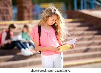 beautiful girl reads textbook on the background of school.