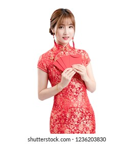 Beautiful girl in red cheongsam