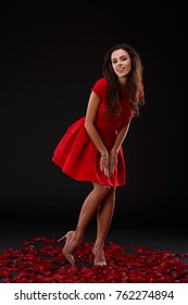 Beautiful girl in a red dress coquettishly posing while standing on rose petals. Indoors.