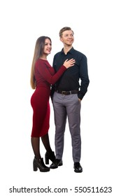 beautiful girl in a red dress and a man in a black shirt