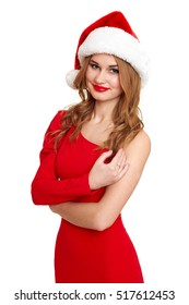beautiful girl in red gown and santa hat isolated on white background, winter holiday concept