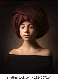 A beautiful girl with red turban. Old masters style.