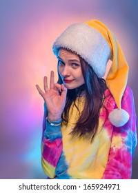 Beautiful girl in Santa Claus hat