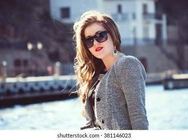 Beautiful girl in the sea