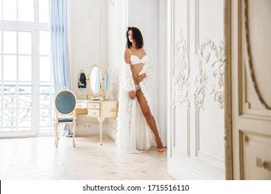 Beautiful girl sexy brunette in underwear posing in a room interior