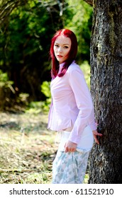 beautiful girl in shirt outdoors