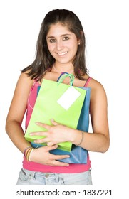 beautiful girl with shopping bags over white including clipping path