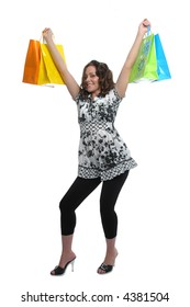 Beautiful girl shopping showing excitement on white background