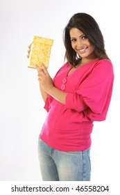 Beautiful girl showing her giftbox