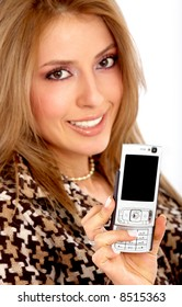 beautiful girl showing off her new phone over a white background