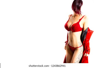 Beautiful girl with sinuous and sexy lines, short hair, red, moved by the movement, with red lingerie, red coat on a background white to horizontal white with space to write your text