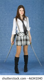 Beautiful girl in a skirt armed with two katana