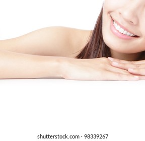 Beautiful Girl smile mouth (lip) and hand isolated on white background, model is a asian beauty