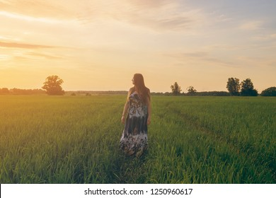 Beautiful girl smiling in a field of sunset