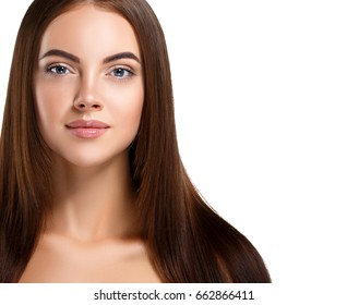 Beautiful Girl smooth hairstyle woman beauty portrait with healthy skin and hair brunette nature makeup