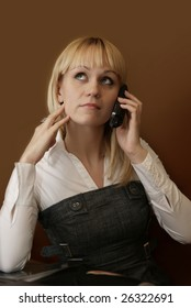 Beautiful girl speaks by phone