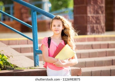 beautiful girl is standing with the books on the background of the school