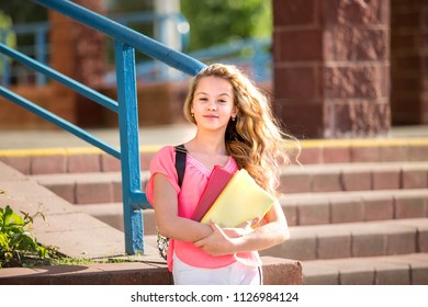 beautiful girl is standing with the books on the background of the school.